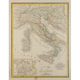 ANCIENT MAP ITALY INSET ROMA ORIGINAL ANTIQUE MAP – G. HECK 1842