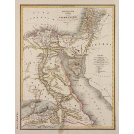 ANCIENT EGYPT AND PALESTINE ORIGINAL ANTIQUE MAP G. HECK 1842