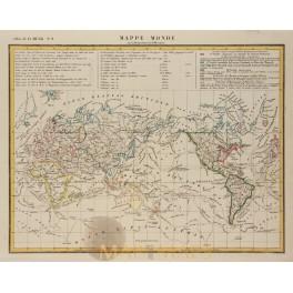 MAPPE MONDE AUSTRALIA AMERICA EUROPE ASIA ORIGINAL ANTIQUE MAP G. HECK 1842