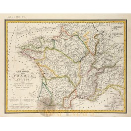 Map of France and Switzerland original old map Heck 1842