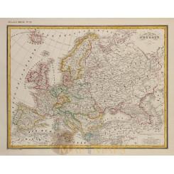 Europe map Carte physique et politique D' Europe by Heck 1842
