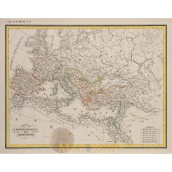 Europe map. Roman Empire under Constantine by Heck 1842
