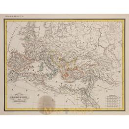 Roman Empire Constantine the Great original antique map Heck 1842