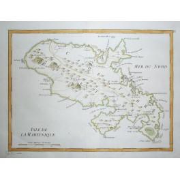 Martinique Caribbean Original old map Le Rouge 1748