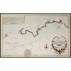 Antique Old chart Anglo-French War Harrison 1788