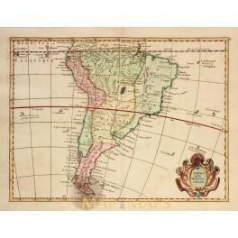 ANTIQUE MAP AMERIQUE MERIDIONALE SOUTH AMERICA OLD ENGRAVING LE ROUGE 1756