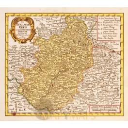 BOHEMIA BUNZLAUER KREIS CZECH REPUBLIC ANTIQUE MAP BY SCHREIBERN 1749