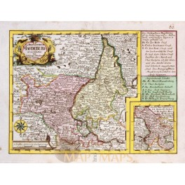Duchy of Magdeburg Lower Saxony Germany antique map by Schreibern 1730