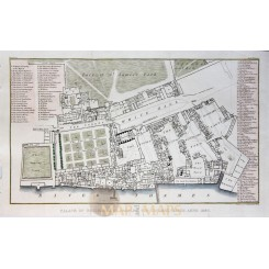 Antique Plan of the Royal Palace of Whitehall by Brayley 1829