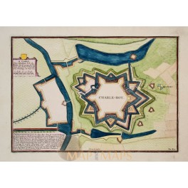 Spanish fortress Plan fortress Charleroi Belgium antique engraving by de Fer 1693
