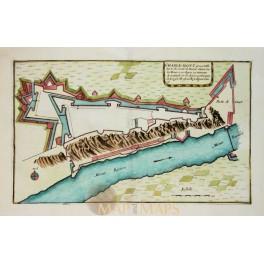 Charlemont Fortress Ardennes France Old plan Copperplate engraved de Fer 1695