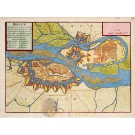 ANTIQUE PLAN BREISACH AM RHEIN OLD ENGRAVING GERMANY DE FER 1694.