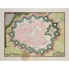 VERCELLI ITALY Antique plan Verceil Ville forte Italie de Fer 1696