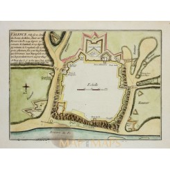 Valenza Italy (Valence) Old Fortification plan De Fer 1696