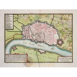 ANTWERPEN ANVERS FLANDERS BELGIUM ANTIQUE ENGRAVED TOWN PLAN BY DE FER 1695