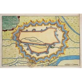 ANTIQUE PLAN AUGSBURG LECK RIVER BAVARIA GERMANY OLD ENGRAVING DE FER 1694