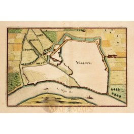 Valence town plan France engraving by de Fer