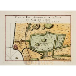 Cap Corse Castle Ghana Fort Anglois Old map Bellin 1750