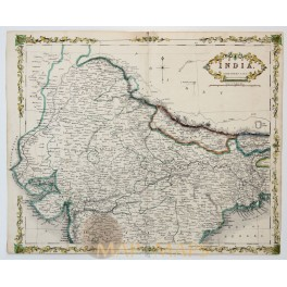 India - Northern Part - Antique Map By Collins 1851