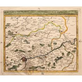 1748 antique map Namur Belgium by Robert de Vaugondy.