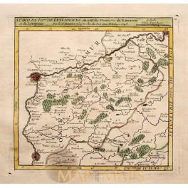 1748 Namur, Dinant Belgium, Luxembourg map VAUGONDY
