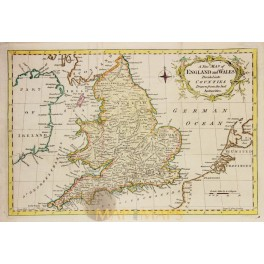 ANTIQUE MAP ENGLAND AND WALES BY G. ROLLOS 1773