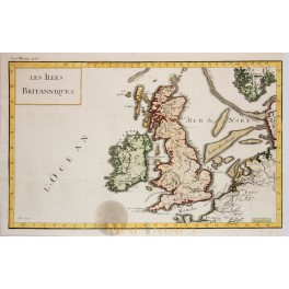 The British Isles Hand colored copperplate engraving 1780