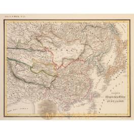 Carte De L' Empire De La Chine Et Du Japon Heck 1842