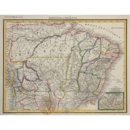 Brazil Empire Rio de Janeiro original historical old map Heck 1842