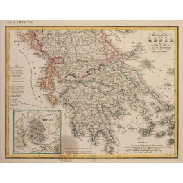 Greece Thessaloniki Albania and Ionian Islands original old map Heck 1842