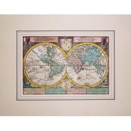 Globus Terrestris Twin Hemisphere antique map by Schreibern 1730
