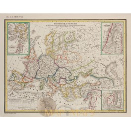 Europe Central Warsaw Austria as Empires original old map Heck 1842