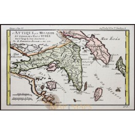 GREECE ATHENS ISLES EVIA–KEA-ANDROS ANTIQUE MAP BY BARBIE DU BOCAGE 1785.