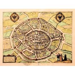 Aachen Aquasgranum antique map Jacob v Deventer 1613