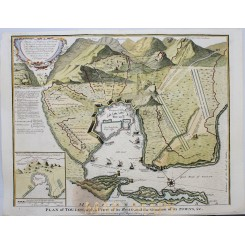 THE BATTLE OF TOULON FRENCH 1707, ANTIQUE PLAN, BY RAPIN 1743