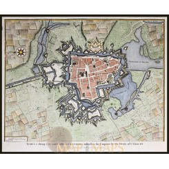 ANTIQUE PLAN OF THE CITY OF YPRES, FLANDRE, BELGIUM BY RAPIN 1743