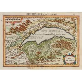 Lac Leman Old map Switzerland Lacus Lemannus Mercator.