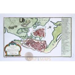 Cartagena Columbia Carthagene des Indes Old map Bellin 1735