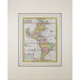 The Americas Mexico as New Espagne Florida as Island antique map Macquart 1748