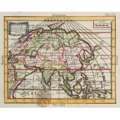 Asia original antique map by Buffier 1744