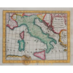 KINGDOMS ITALY ANTIQUE OLD MAP BY BUFFIER 1769