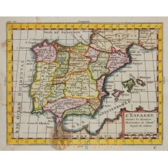 Spain Portugal old map Claude Buffier 1769