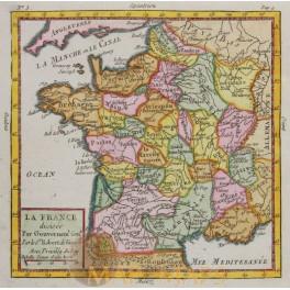 FRANCE PROVINCES ANTIQUE MAP BY VAUGONDY 1782