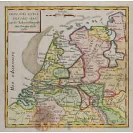 Netherlands Belgium Antique Map Vaugondy 1750