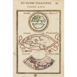 CARTOGRAPHY WORLD MAPS BASED ON POSIDONIUS AND OTHERS. BY MALLET 1683