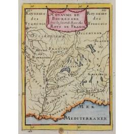 Kingdom of Burgundy Antique original map by Mallet 1683