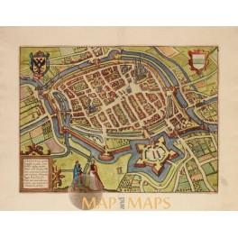 Groningen Groninga Holland old map van Deventer 1613