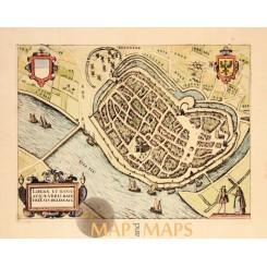 EUROPE ANTIQUE MAP, CITY DEVENTER, OVERIJSSEL, GIUCCIARDINI/ BLAEU 1612