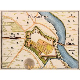 MERIAN NAVARRINS France Fortification copper plan 1661