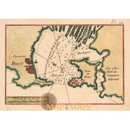 Bay of Toulon France old map Roux 1764